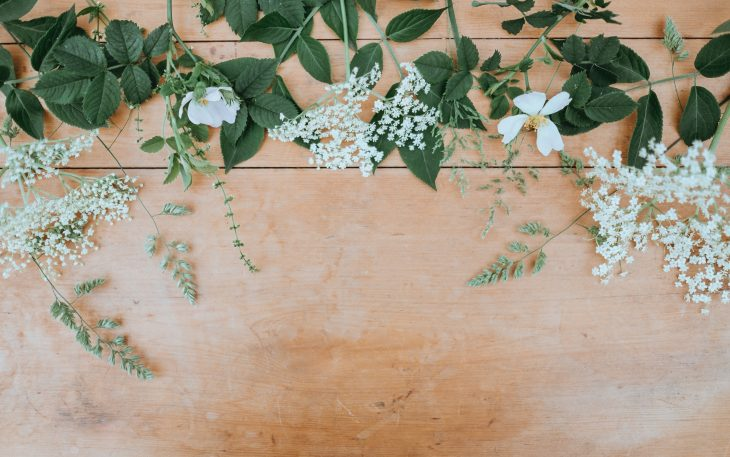 Ivy and Floral Flat Lay for Wedding Dress Beading Inspiration