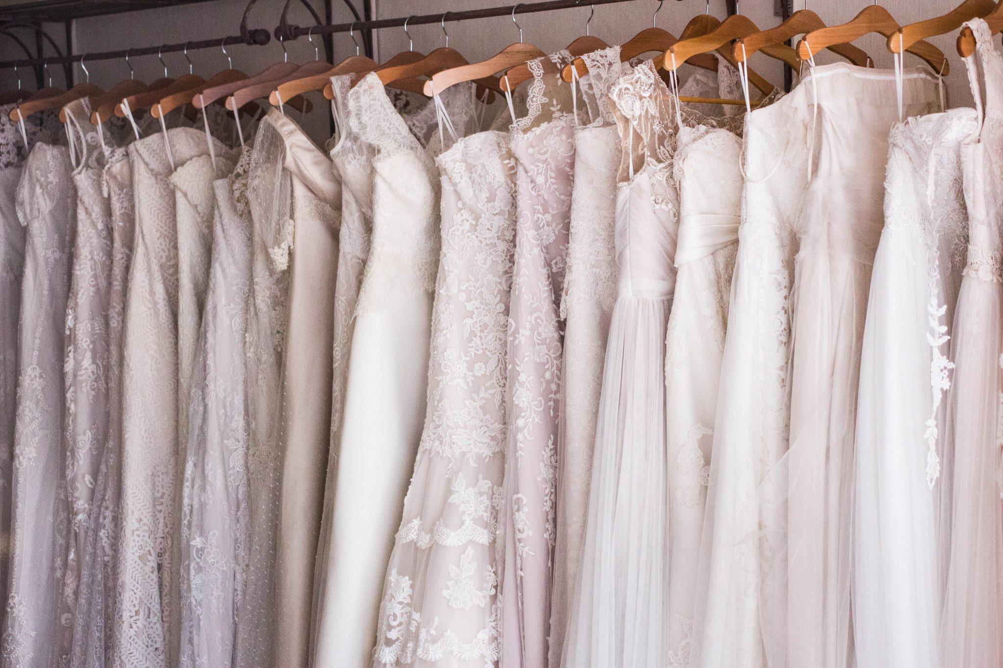 Wedding Dresses Hanging on a Rack