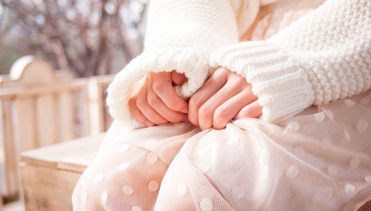 White Sweater and White Skirt