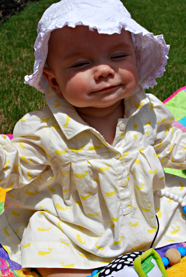 Annabelle happy in sun 5.5 months