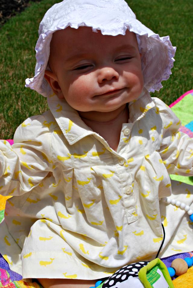 Annabelle happy in sun 5.5 months