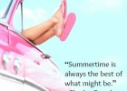 Summer fun vintage car. Legs showing from pink vintage retro car. Freedom, travel and vacation road trip concept lifestyle image with woman and copy space on blue sky.