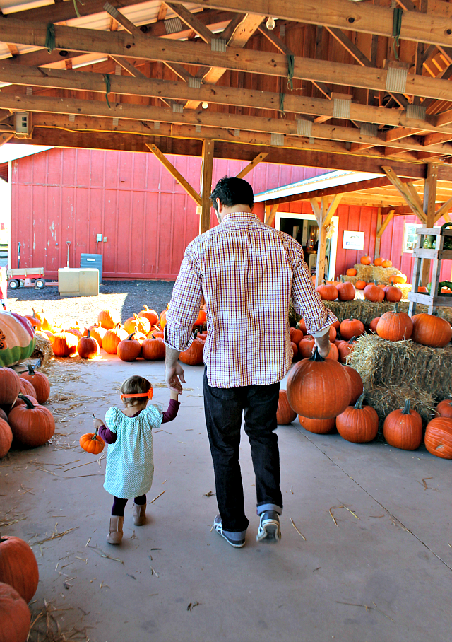 Annabelle and Daddy with their Pumpkins