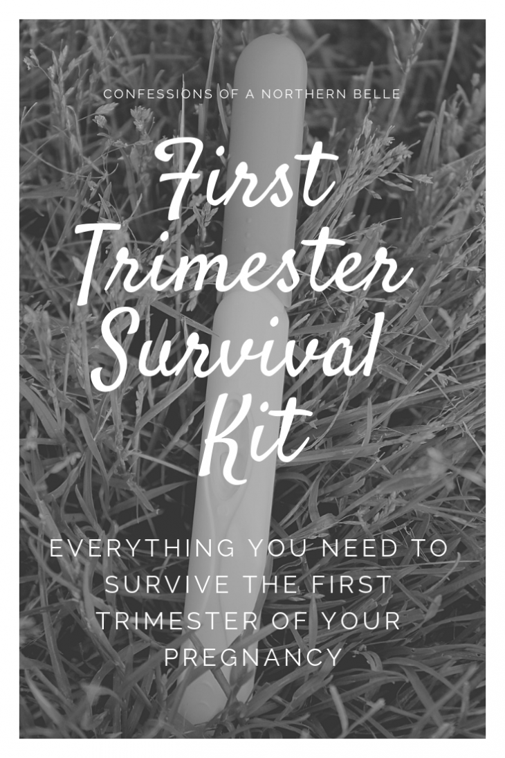 BLACK AND WHITE PREGNANCY TEST WITH TEXT READING First Trimester Survival Kit