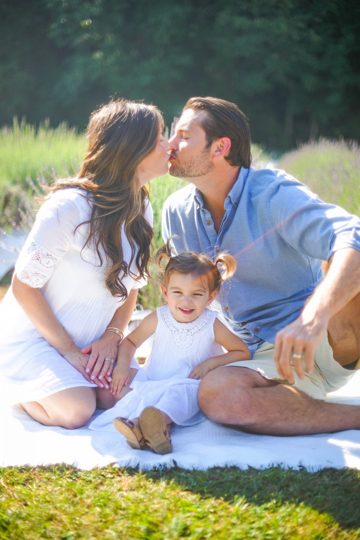 Maternity Photo and Family Photos in White and Blue at Lavender Farm