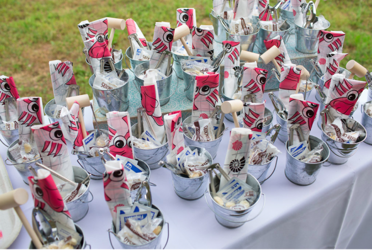 Mini Buckets with Lobster Bibs and Mallots
