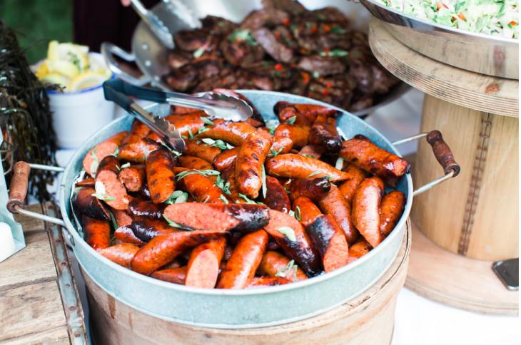 Grilled Sausage in Galvanized Basket