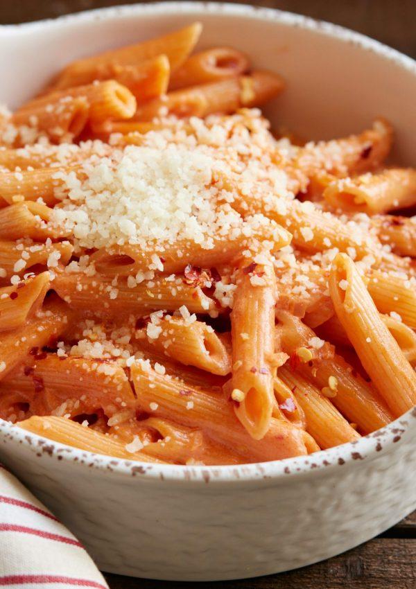 Shrimp and Scallops in Prosciutto Tomato Cream Sauce