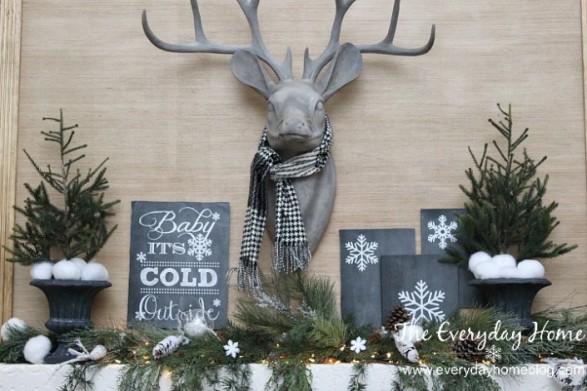 Gray Winter Decor Moose Head