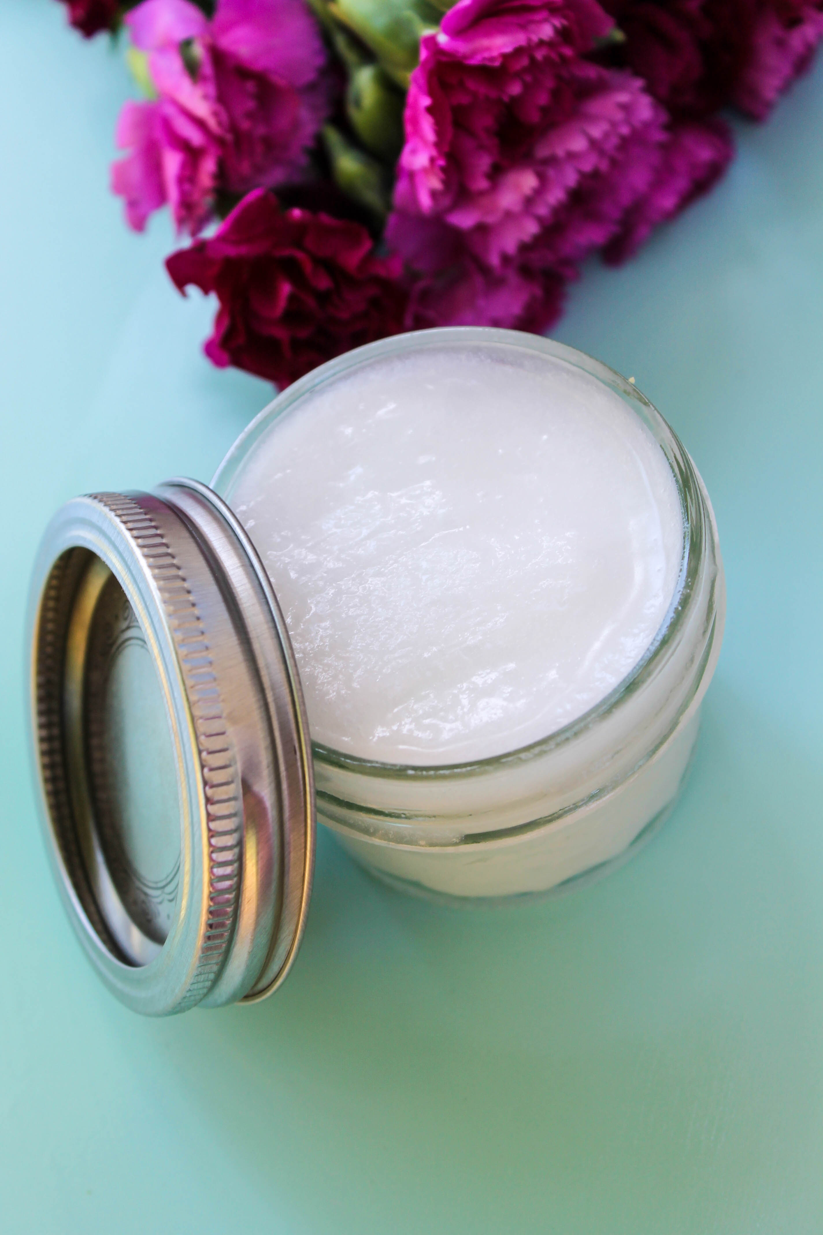 Easy to make whipped coconut lotion with lavender and geranium