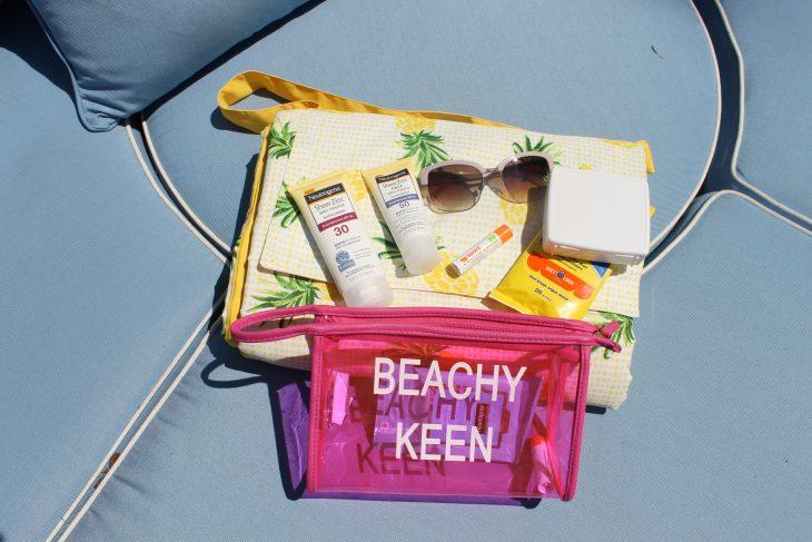 Sunglasses, beach blanket, beach bag, sunscreen