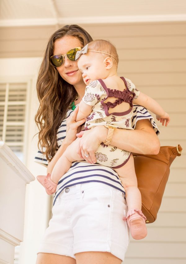 Simple Mom Outfits // White Shorts