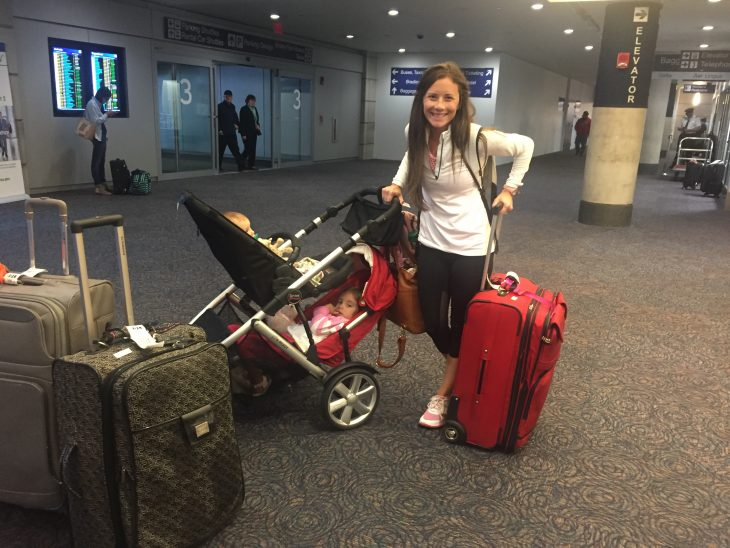 Mom with Luggage and Double Stroller