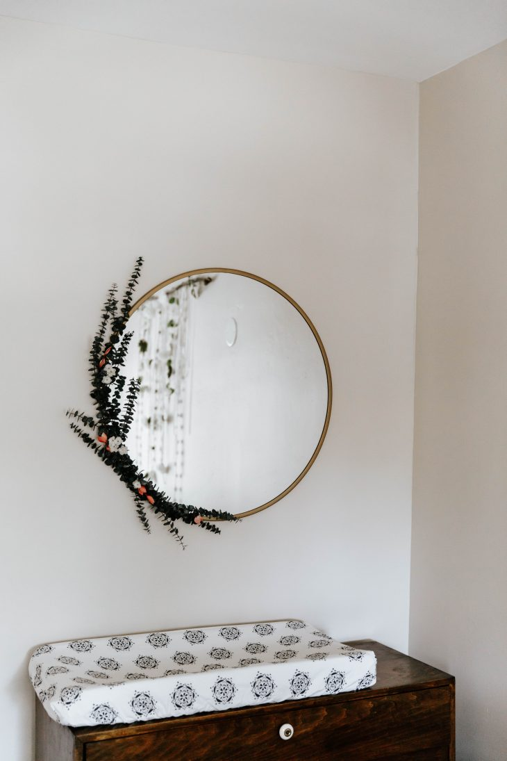Eucalyptus on Gold Circle Mirror