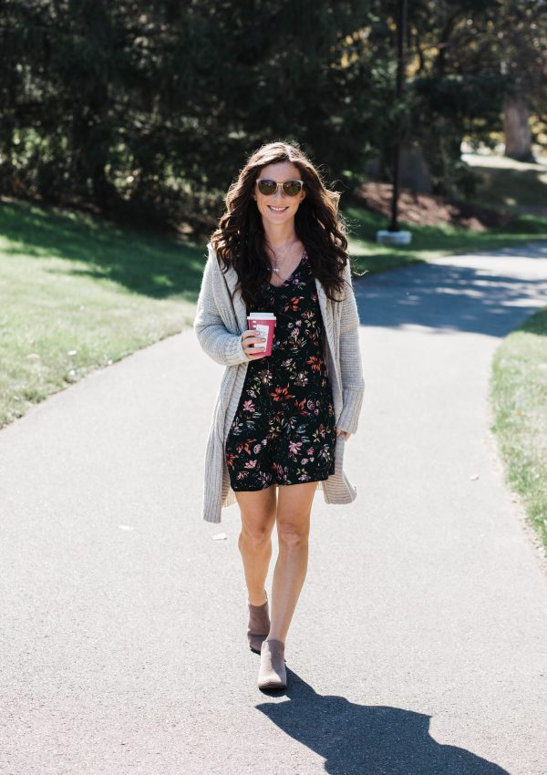 Oversized Cardigan + Floral Fall Dress // Life Lately