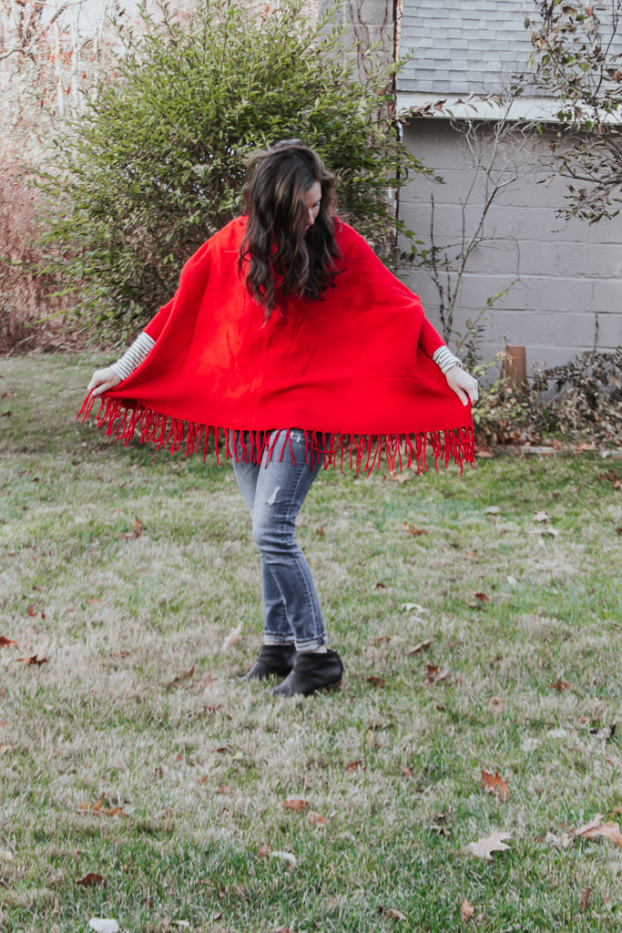 Simple Mom Outfit | A Winter Red Poncho
