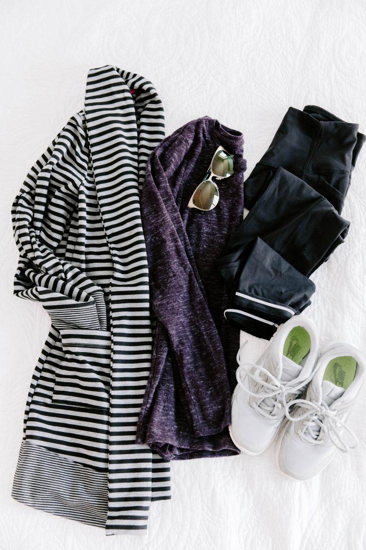 Lululemon crops, Nike Sneakers, Long Sleeve Shirt, Striped Cardigan