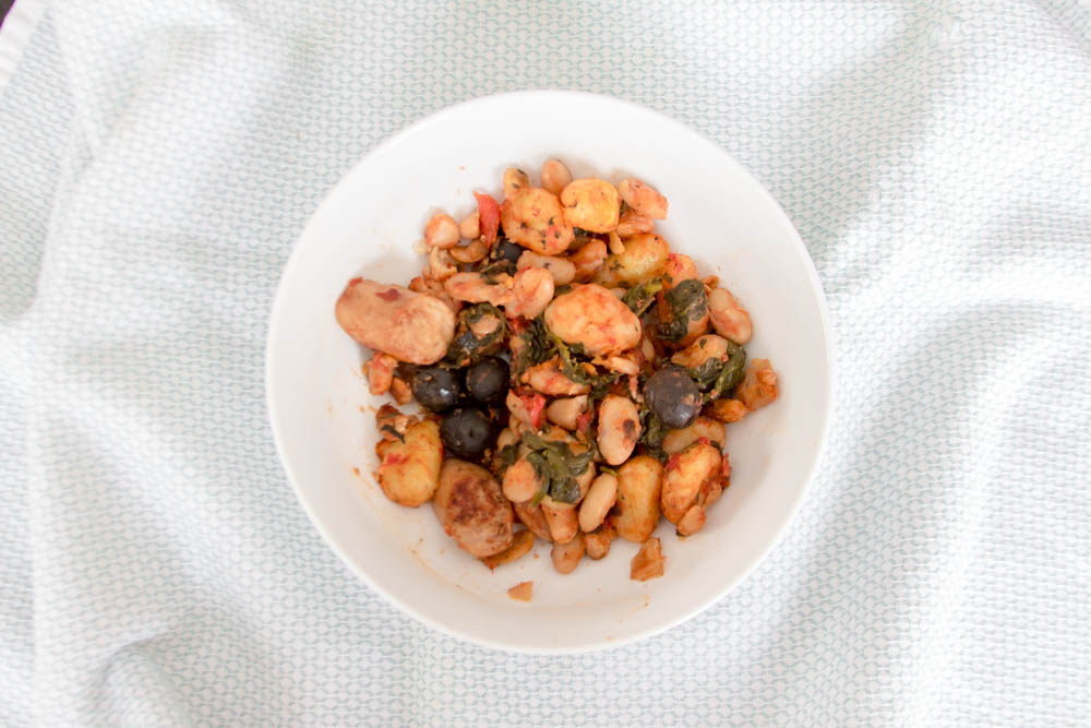 Spinach, Olives, and Chicken Sausage Gnocchi