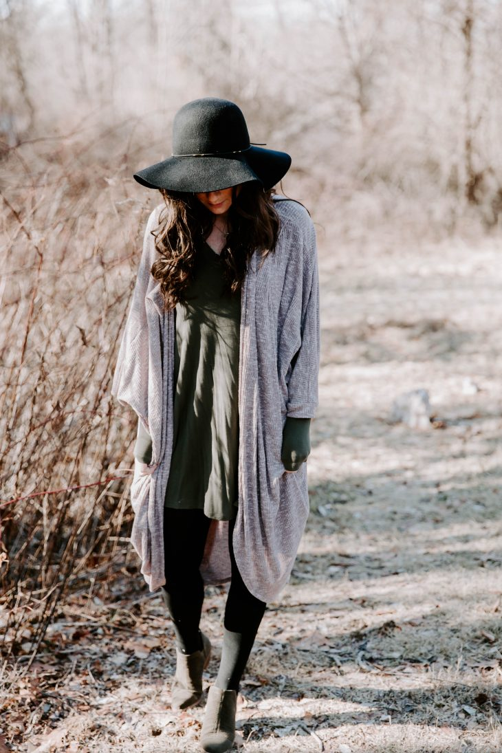 Floppy Hat, Cardigan, Tights, Dress, Booties