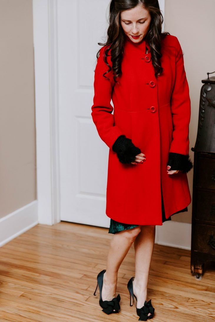 Red Peacoat, Fur Gloves, Bow Pumps