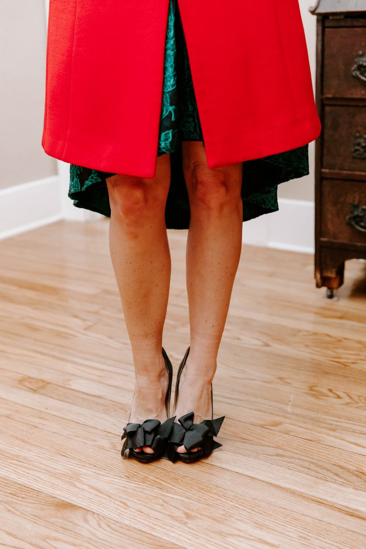 Winter Red Jacket, Black Bow Pumps, Rent the Runway Dress