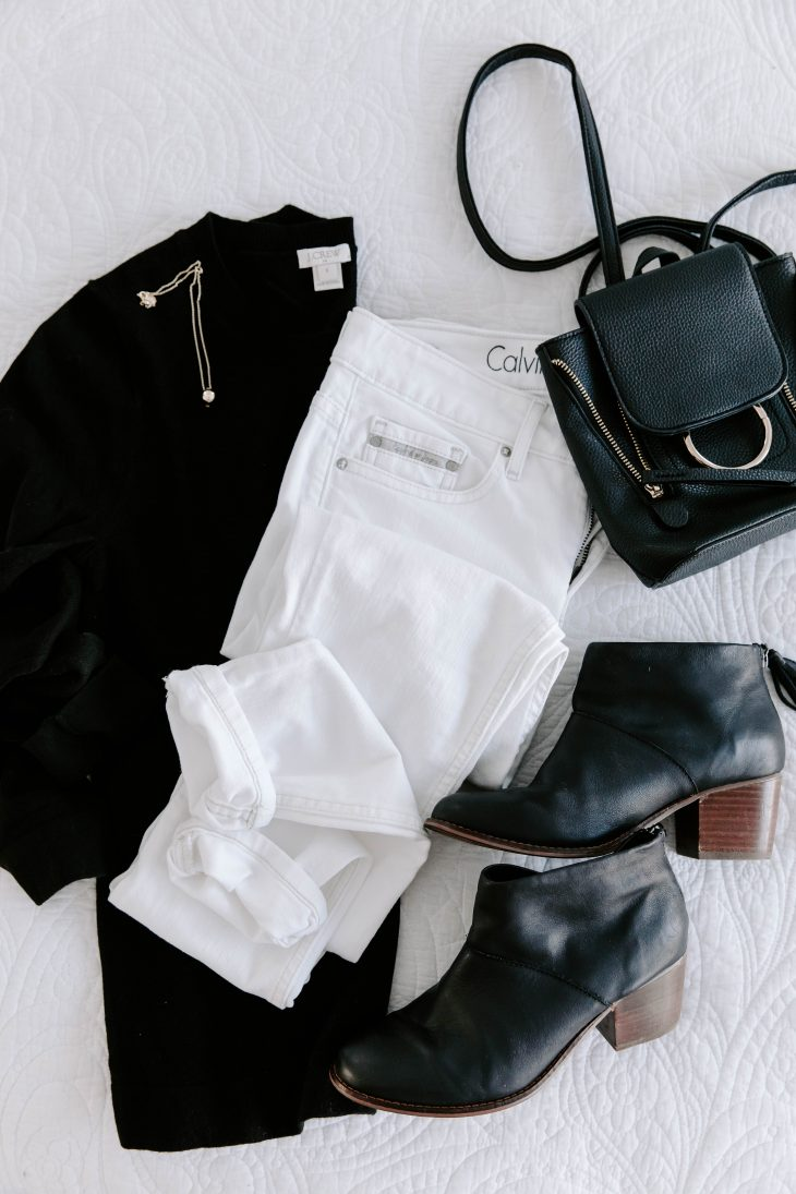 Last Minute Date Night Outfit - White jeans black top black boots