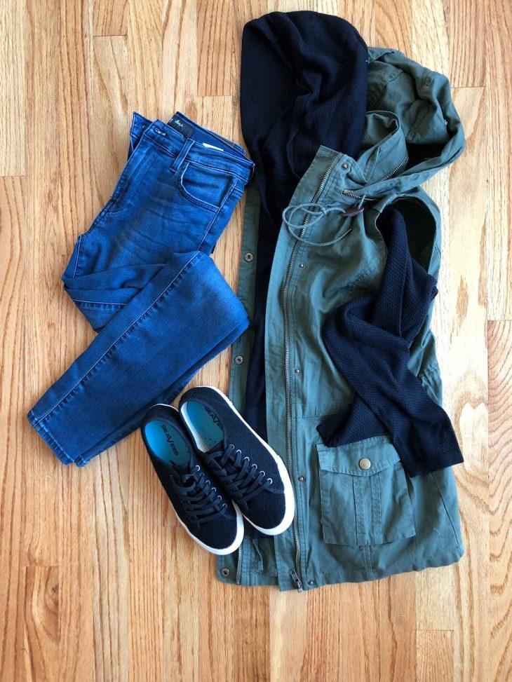 Jeans, Sneakers, Cargo Vest and Sweatshirt