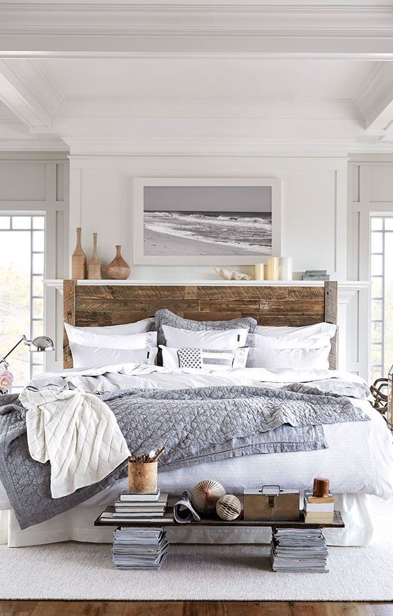 Wooden Headboard and White Bedding