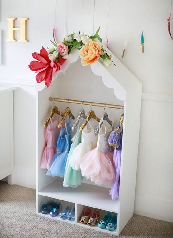 Girls Dress Up Clothes Display in Shape of House with Costumes
