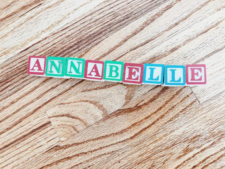 Alphabet blocks spelling Annabelle