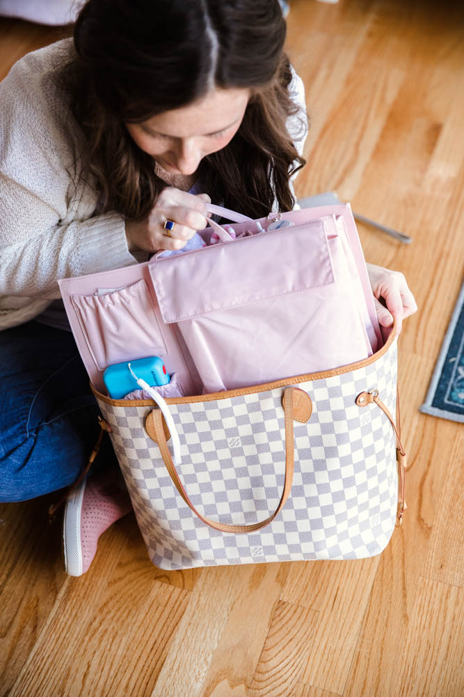Diaper Bag Essentials for a Toddler Mom using Tote Savvy in Blush