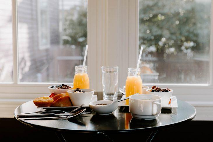 breakfast served in bright light room