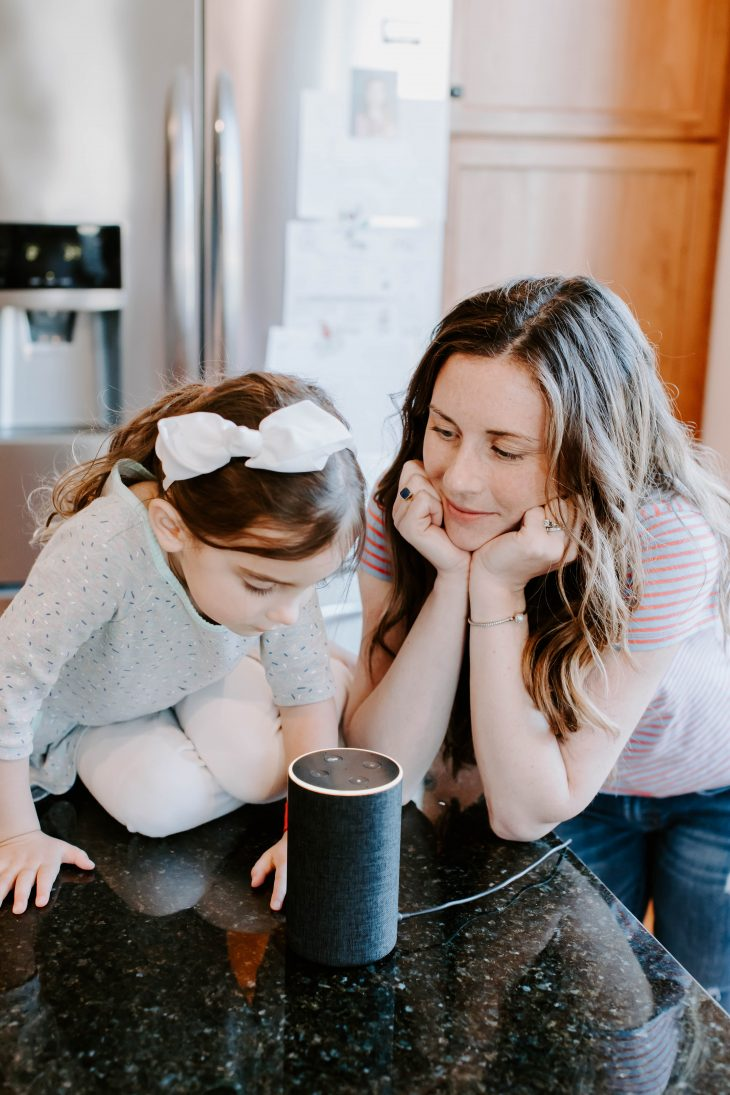Mom and Daughter using Amazon Echo