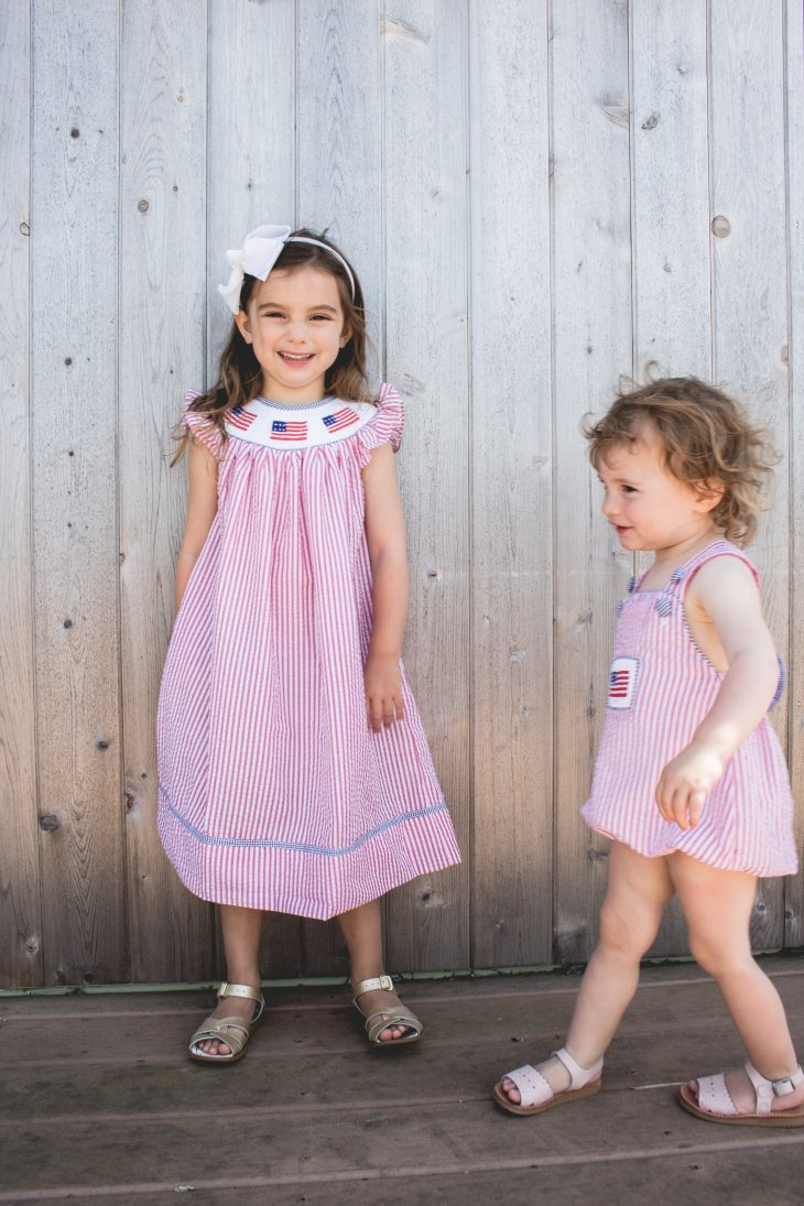 Sisters in Smocked Dresses for Fourth of July