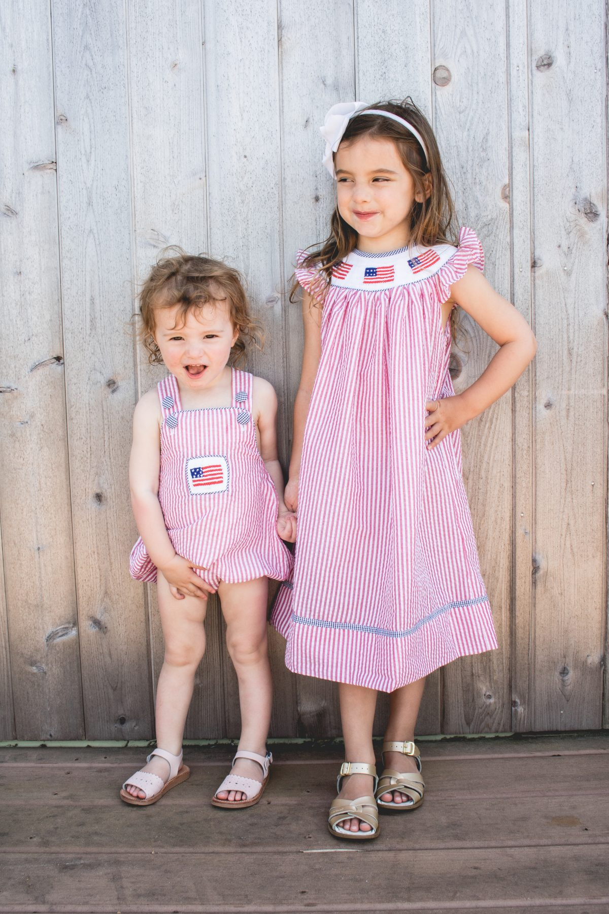 Sisters Wearing Fourth of July Smocked Outfits - Bella Bean Kelly - Hamptons - Confessions of a Northern Belle