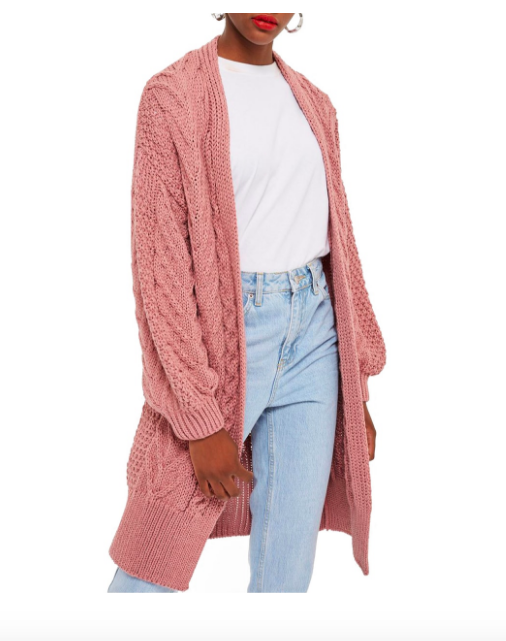 Pink knit open front long sweater