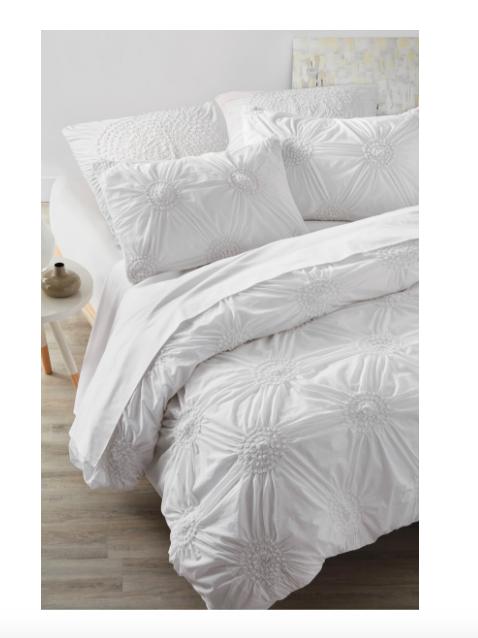 Pintuck White Cotton Duvet Cover