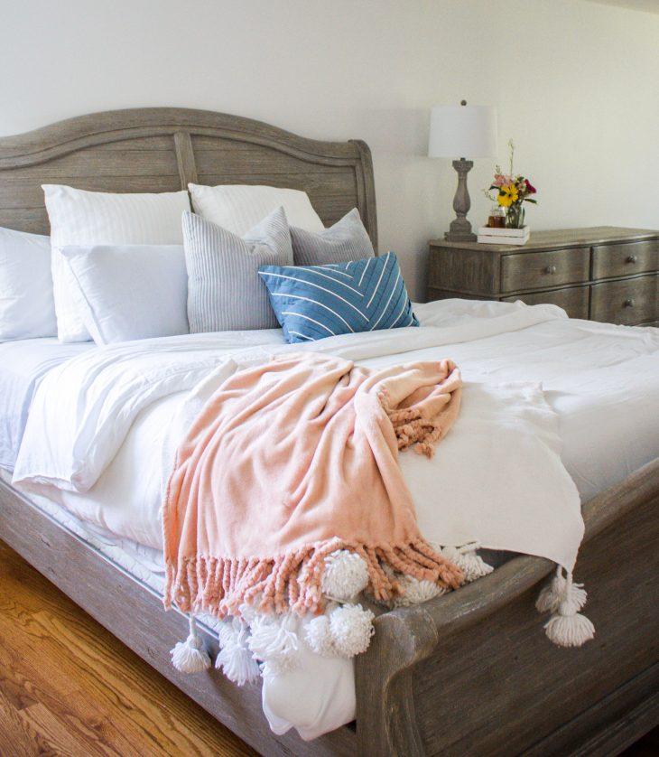 Whitewash Gray Bedroom Set with White Bedding