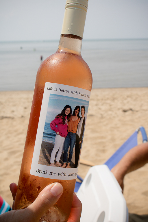 Sisters on a Personalized Wine Bottle