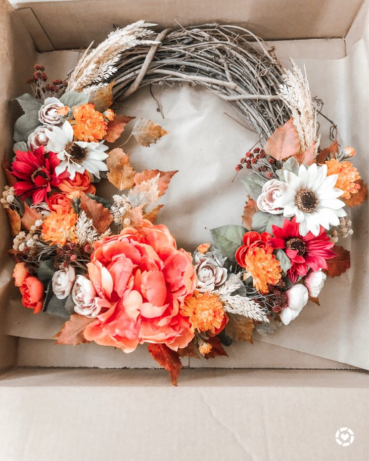 Orange White Pink Green Floral Fall Wreath