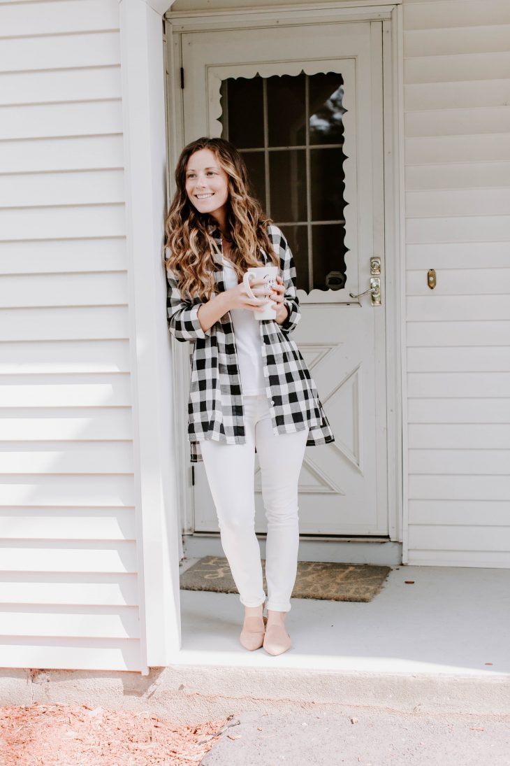 Black and White Checkered Button Up Shirt