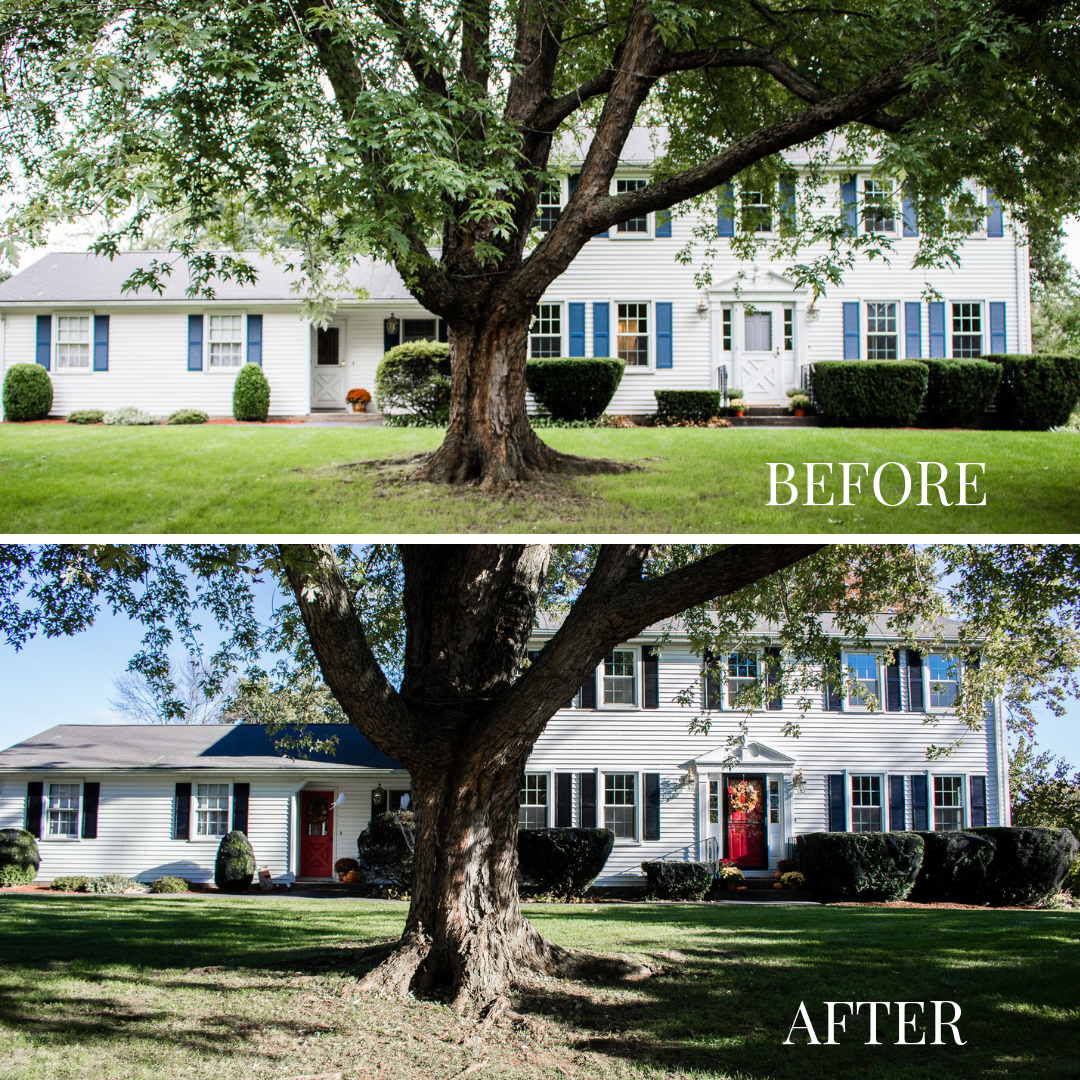 Before and After DIY Painted Exterior Shutters