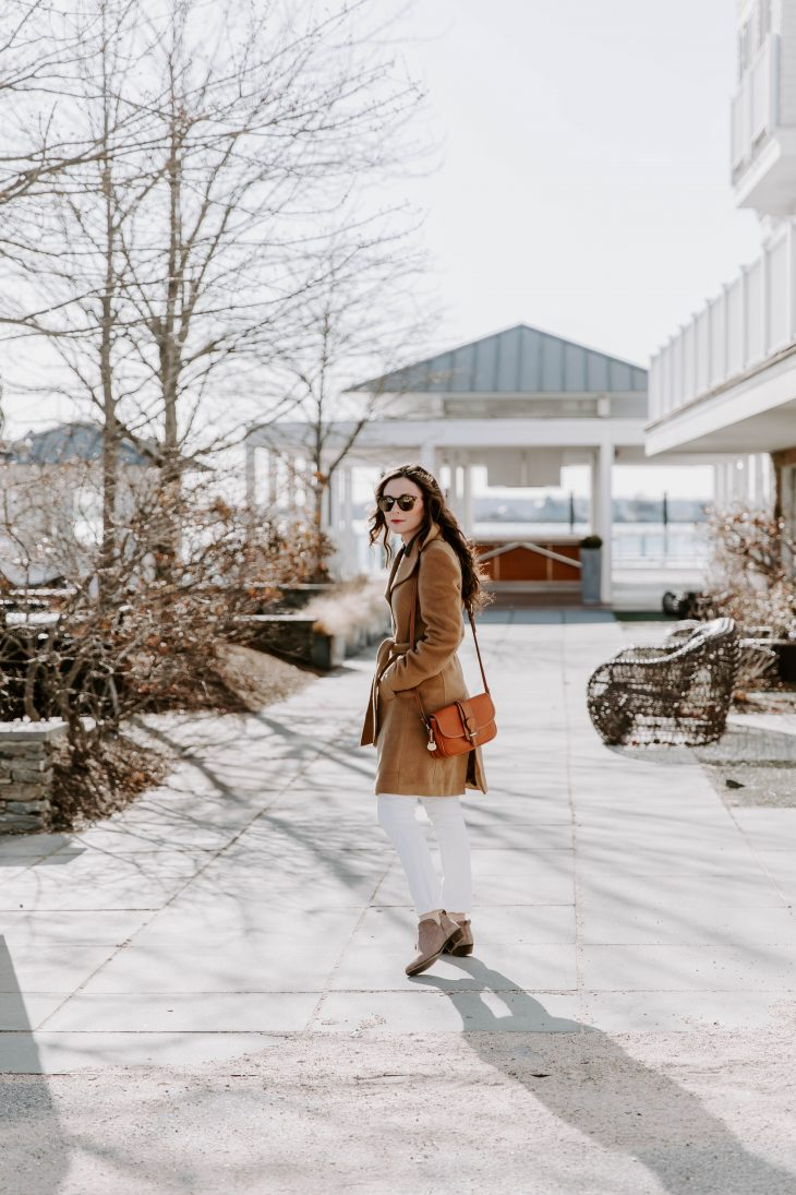 Fall Style Blogger Camel Peacoat, Leather Purse, White Denim, Tan Booties
