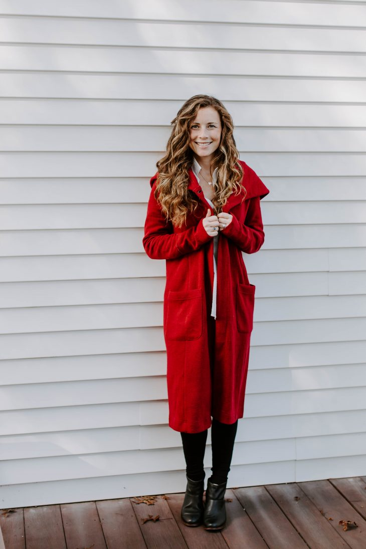 Full length red coat