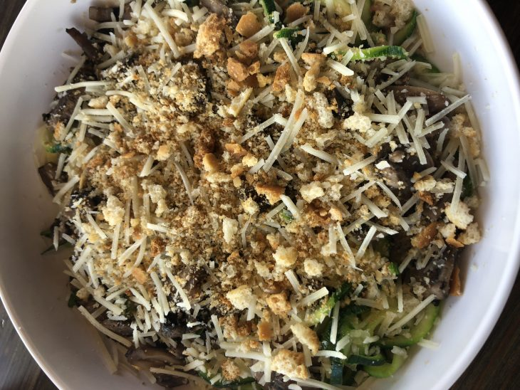 Zucchini Truffle Mac at Noodles & Company made with Zoodles, Truffle Mac Sauce, and Mushrooms