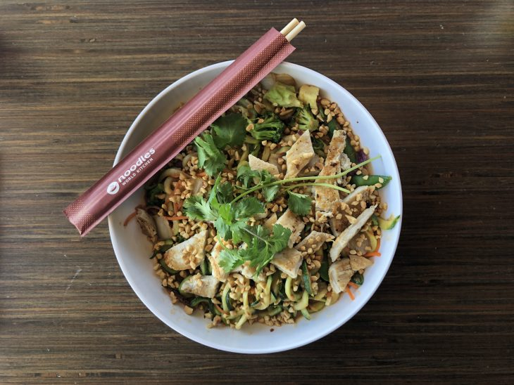 Noodles & Company - new dish - Zucchini Spicy Peanut Sauté with Grilled Chicken