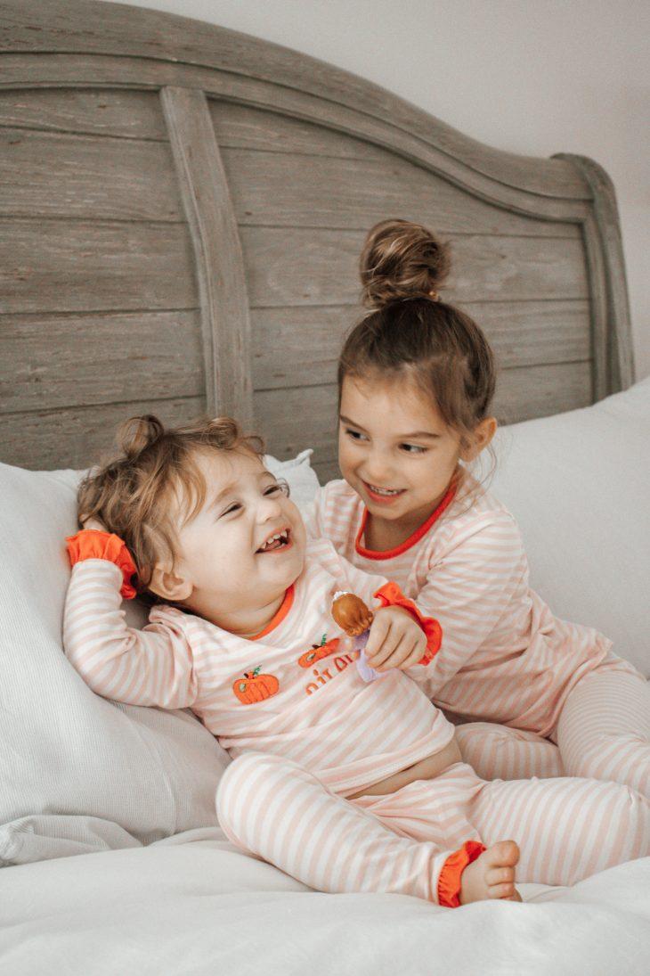 Sisters in Matching Fall Pajamas