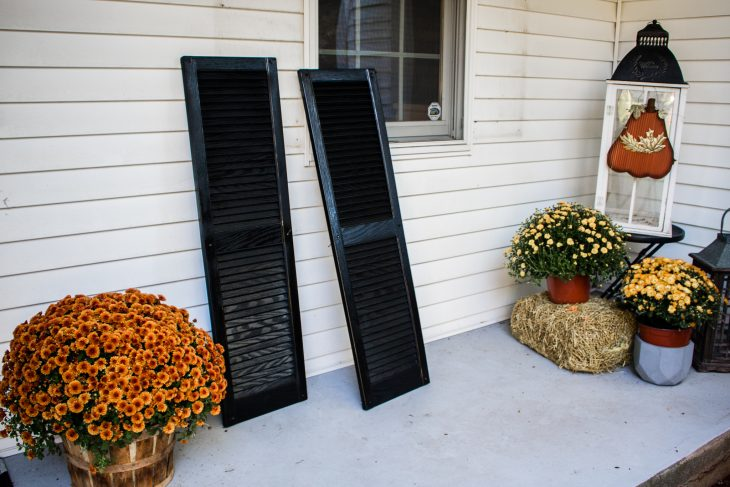 Black Vinyl Shutters About to Be Replaced on Home