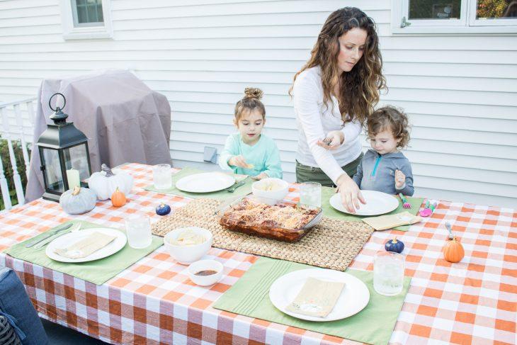Mom Serving Children Dinner