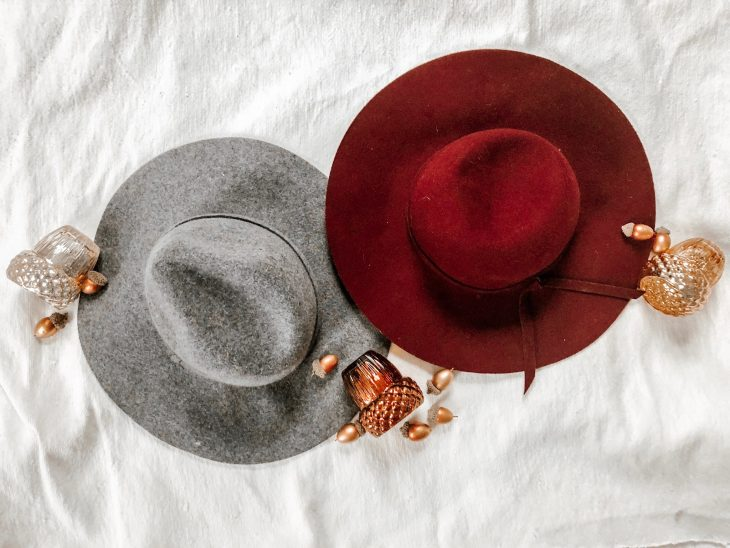 Gray and Maroon Wool Hats